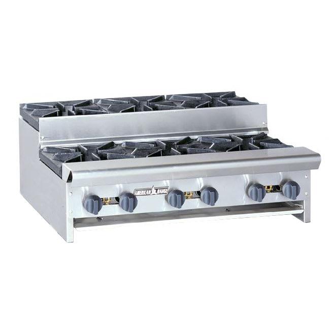 "American Range SUHP-36-6 36"" Gas Hotplate w/ (6) Burners & Manual Controls, LP"