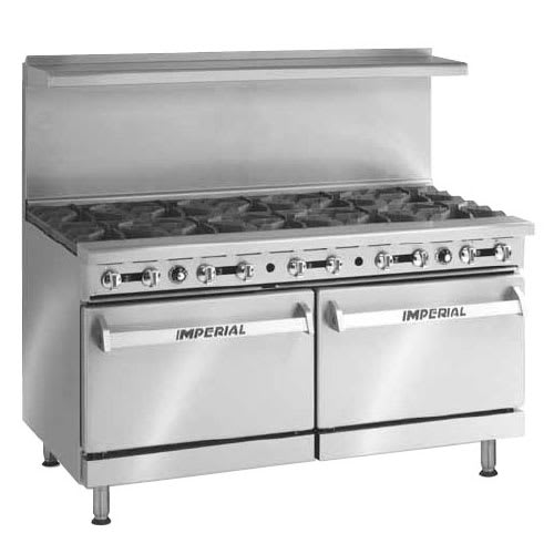 "Imperial IR-10 60"" 10-Burner Gas Range w/ (2) Standard Ovens, NG"