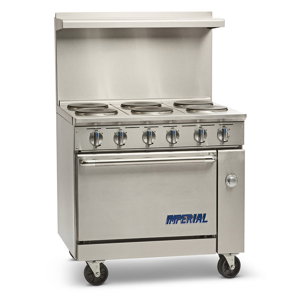 "Imperial IR-6-E 36"" 6-Burner Electric Range w/ Convection Oven, 208v/1ph"