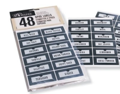 Olde Thompson 22-351 Individual Spice Jar Labels, (48) Fits 22-350 Standard Spice Jars