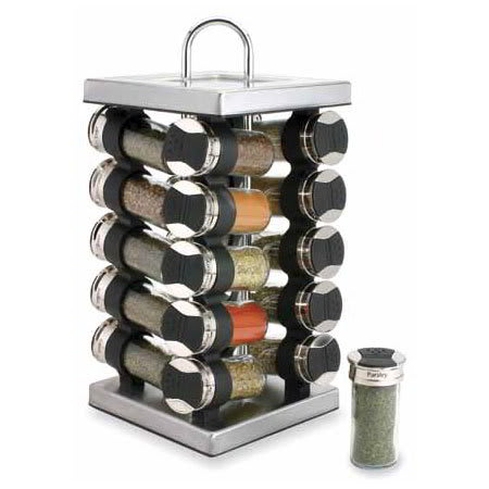 Olde Thompson 25620SS Spice Rack, Revolving, SS, 20 Glass Jars W/Flip-Lids