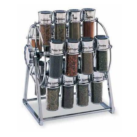 Olde Thompson 25645C Spice Rack, Ferris Wheel, Holds 20, Chrome/Black Flip-Top Lid, Filled