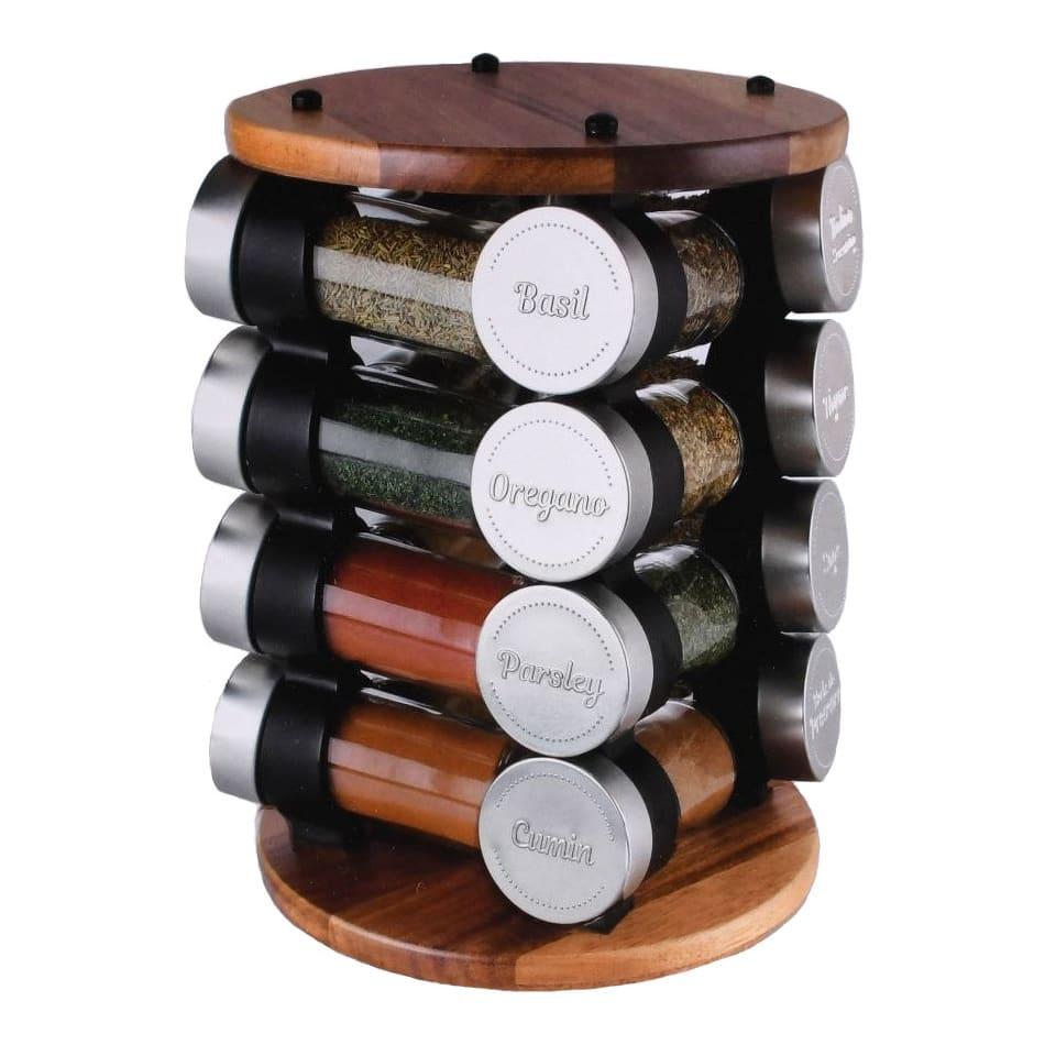 "Olde Thompson 25-722 Revolving Carousel Spice Rack w/ (16) 3 oz Spice Jars - 10""H, Acacia Wood"