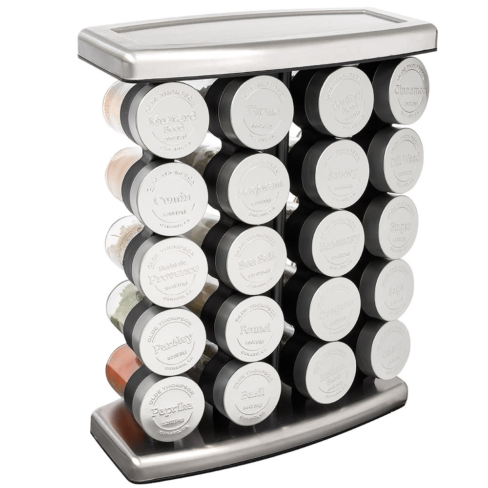 """Olde Thompson 25-728 Traditional Spice Rack w/ (20) Spice Jars - Stainless Steel, 14""""H"""