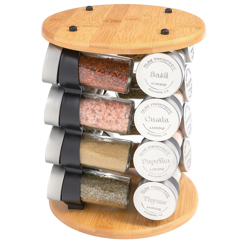 "Olde Thompson 25-732 Revolving Carousel Spice Rack w/ (16) 3 oz Spice Jars - 10""H, Bamboo"