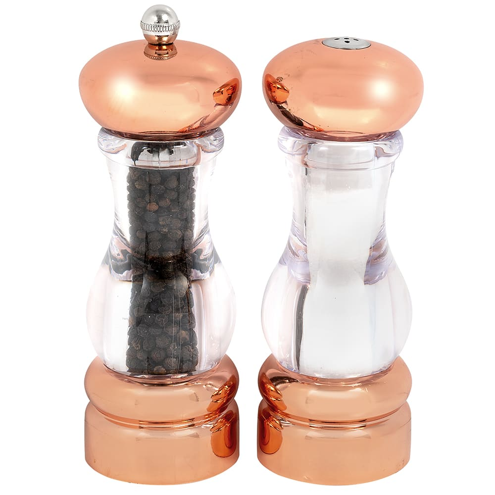 "Olde Thompson 3521-03 7""H Salt Shaker & Pepper Mill - Acrylic & Copper"