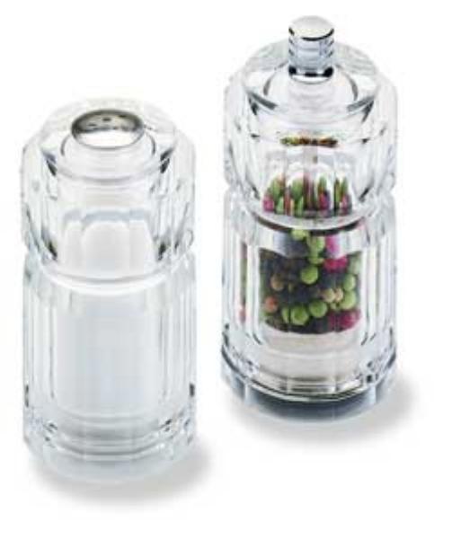 Olde Thompson 35464000 Peppermill/Salt Shaker Set, Sonoma, Clear Acrylic, 3-3/4 in