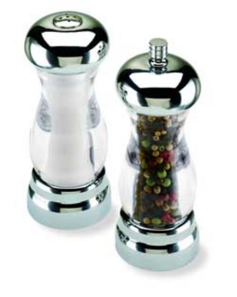Olde Thompson 35592700 Peppermill/Salt Shaker Set, Del Sol, Clear Acrylic W/Chrome Top, 5 in
