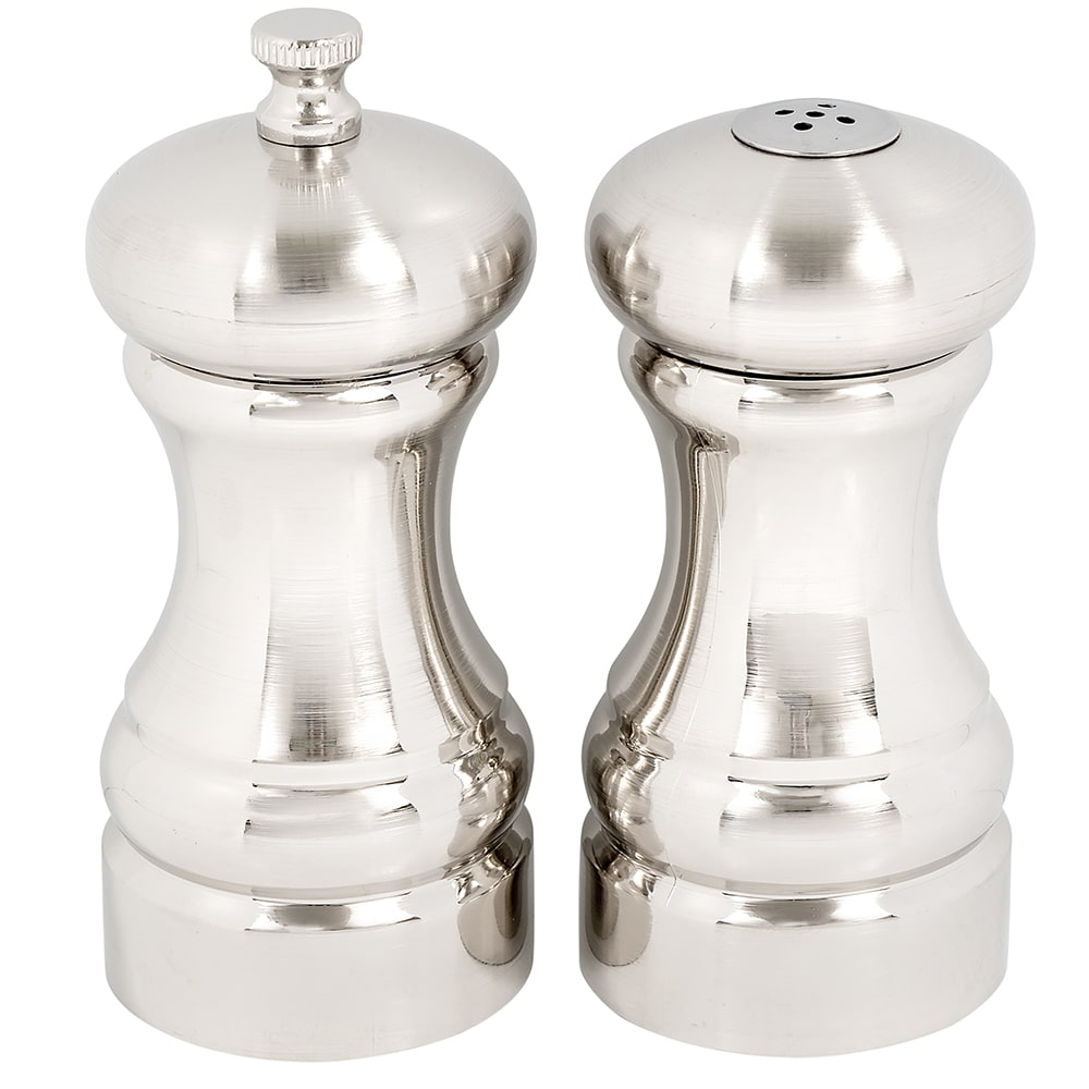 "Olde Thompson 50030000 4.5""H Salt Shaker & Pepper Mill - Brushed Metal"