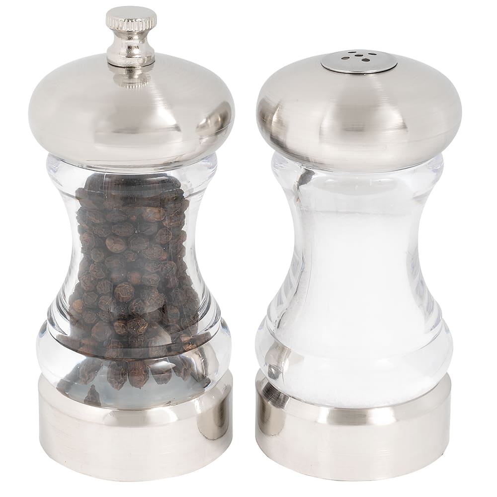 Olde Thompson 50040000 Peppermill/Salt Shaker Set, Monterey, Clear Acrylic & SS, 4-1/2 in