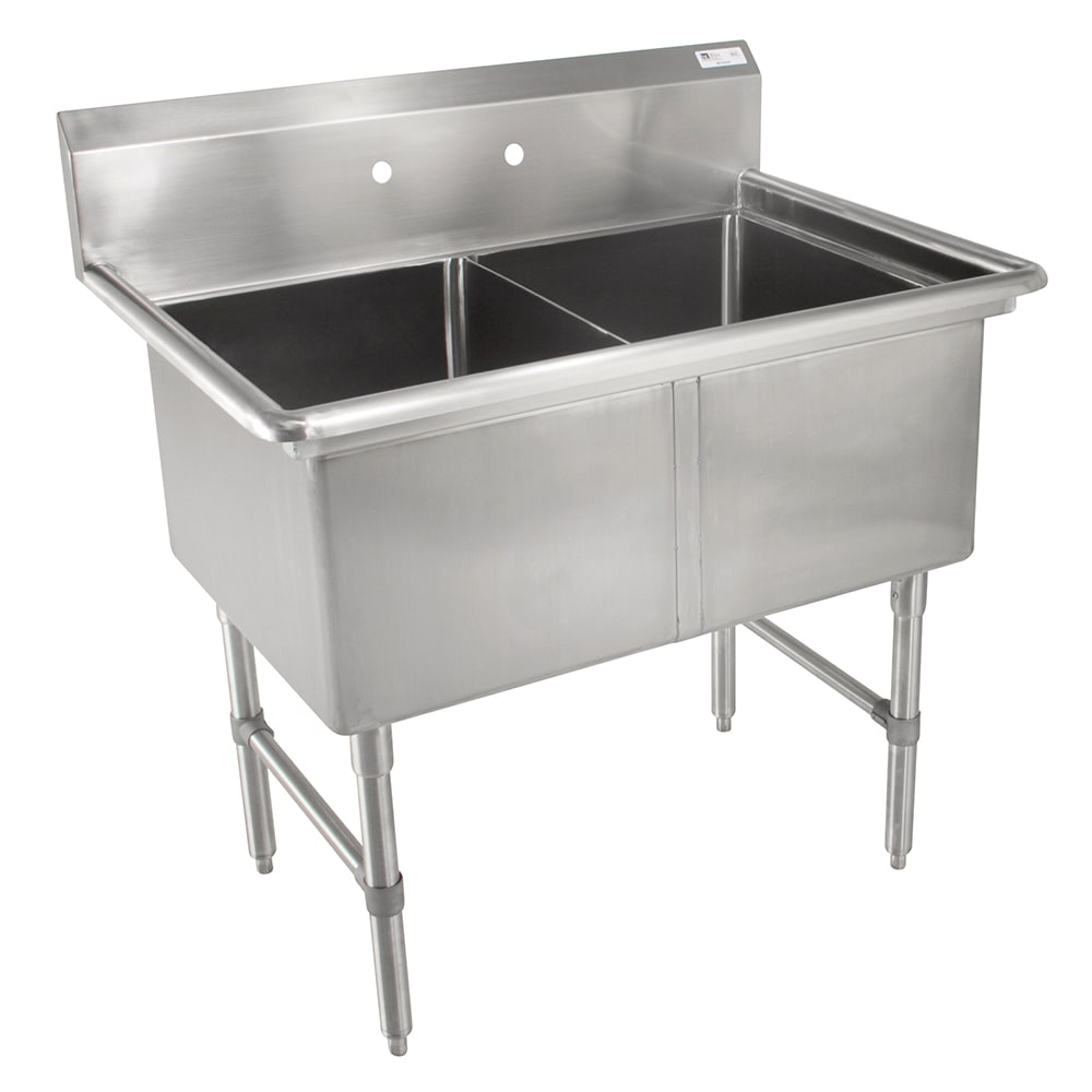 "John Boos 2B16204 37"" 2 Compartment Sink w/ 16""L x 20""W Bowl, 14"" Deep"