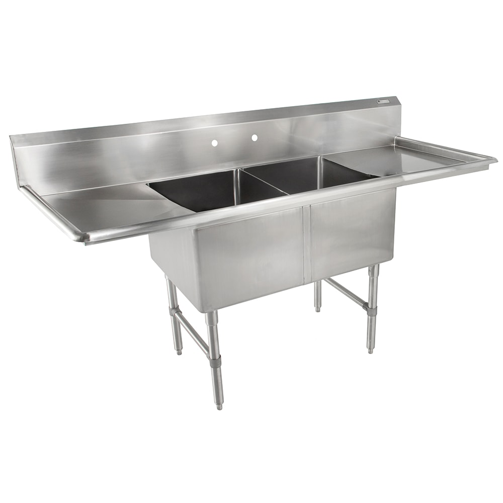 """John Boos 2B18244-2D18 75"""" 2 Compartment Sink w/ 18""""L x 24""""W Bowl, 14"""" Deep"""