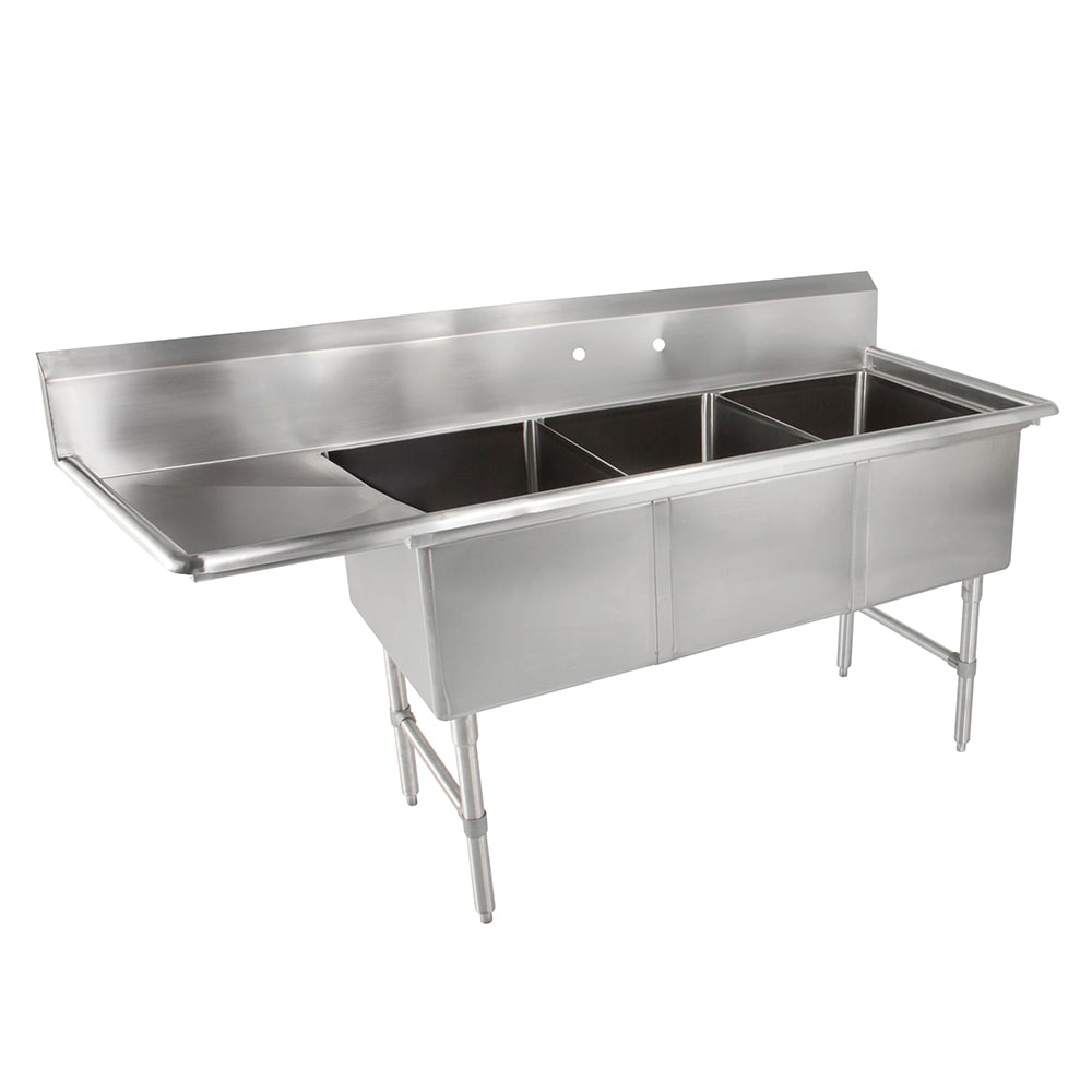 "John Boos 3B16204-1D18L 70"" 3 Compartment Sink w/ 16""L x 20""W Bowl, 14"" Deep"