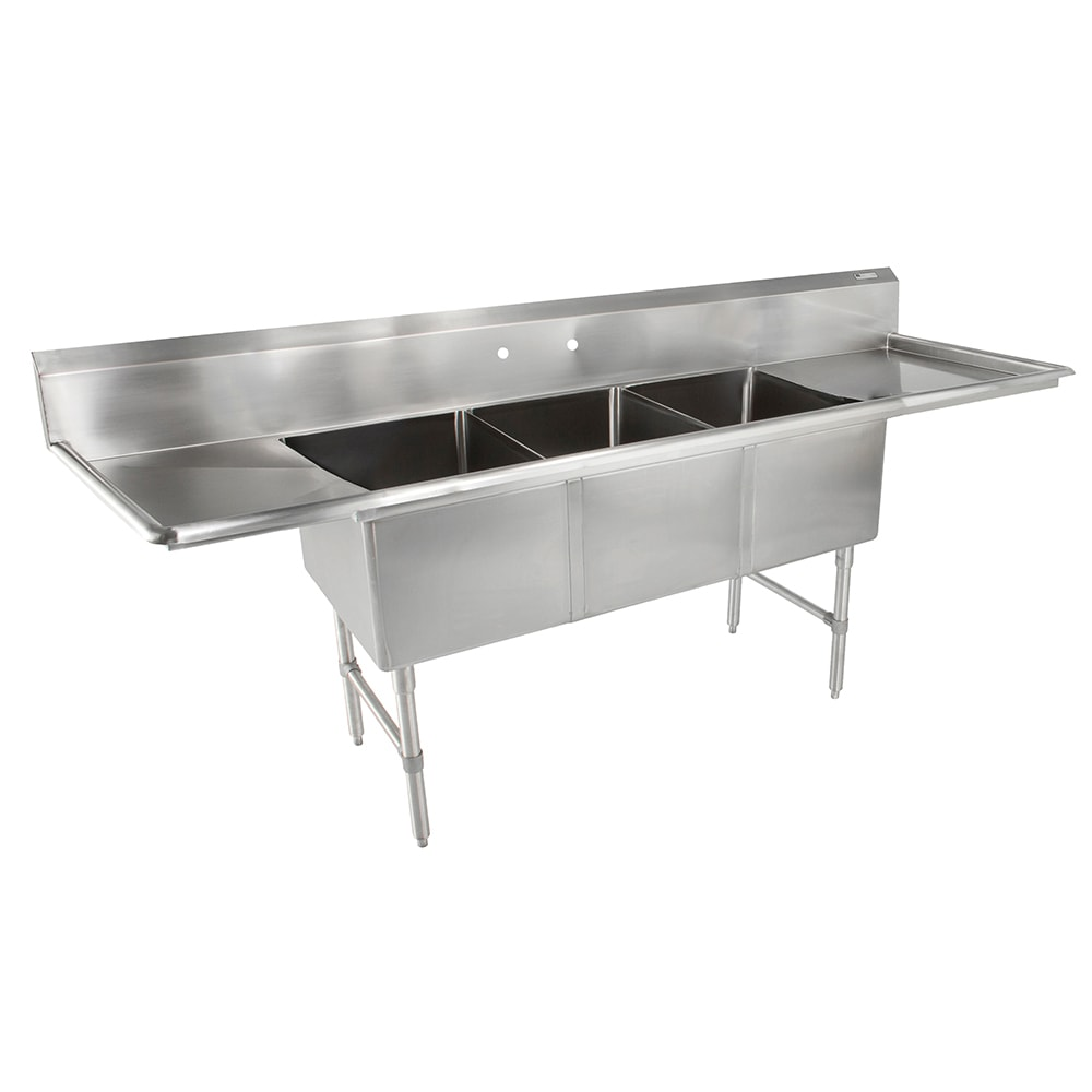 "John Boos 3B16204-2D36 123"" 3 Compartment Sink w/ 16""L x 20""W Bowl, 14"" Deep"