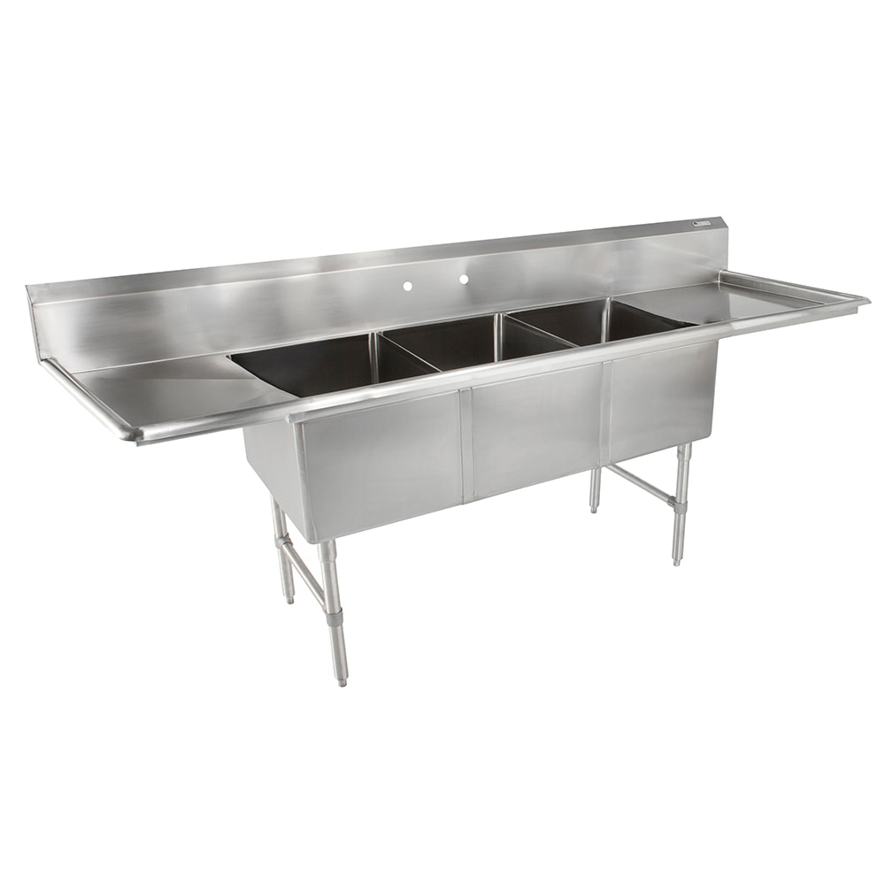 "John Boos 3B20304-2D30 123"" 3-Compartment Sink w/ 20""L x 30""W Bowl, 14"" Deep"