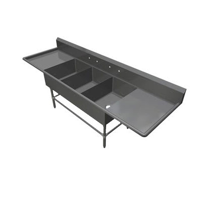 "John Boos 3PB2028-2D20 103.25"" 3 Compartment Sink w/ 20""L x 28""W Bowl, 12"" Deep"