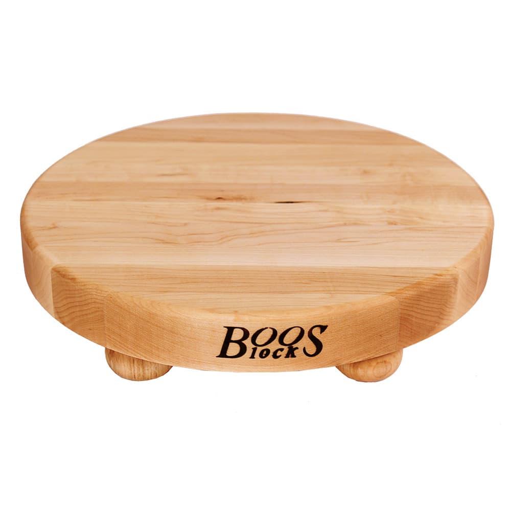 "John Boos B12R 12"" Round Cutting Board w/ Wooden Legs, Hard Rock Maple"