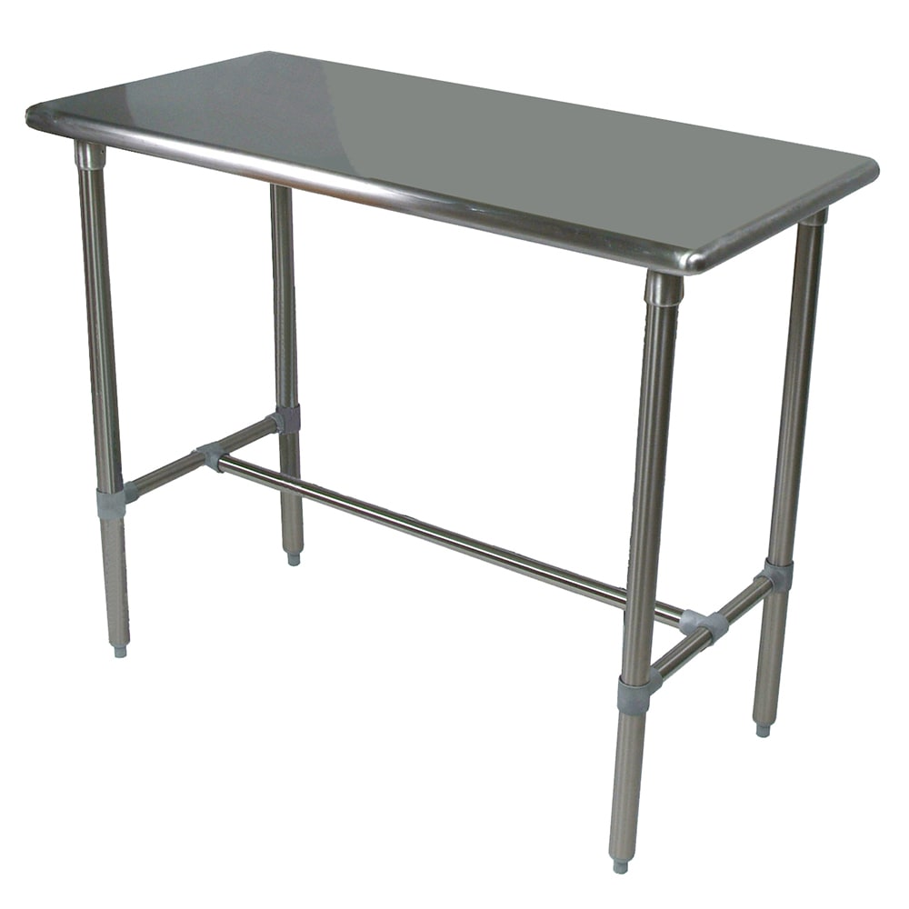 "John Boos BBSS4830-40 48"" 18-ga Work Table w/ Open Base & 300-Series Stainless Flat Top"