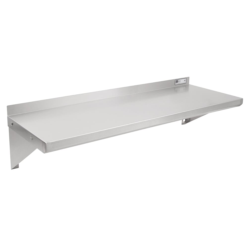 "John Boos BHS12108 Solid Wall Mounted Shelf, 108""W x 12""D, Stainless"