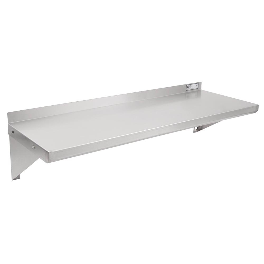 "John Boos BHS1248 Stainless Steel Wall Shelf, 1.5"" Backsplash, 12 x 48"""