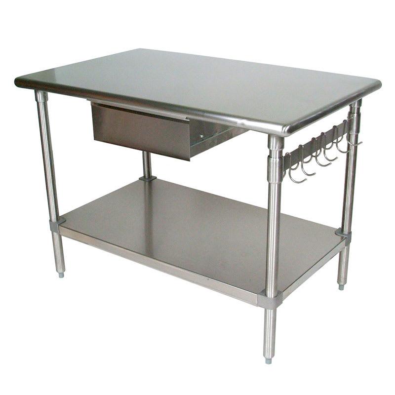 """John Boos BS4824-AS-D 48"""" 16 ga Work Table w/ Undershelf & 300 Series Stainless Flat Top"""