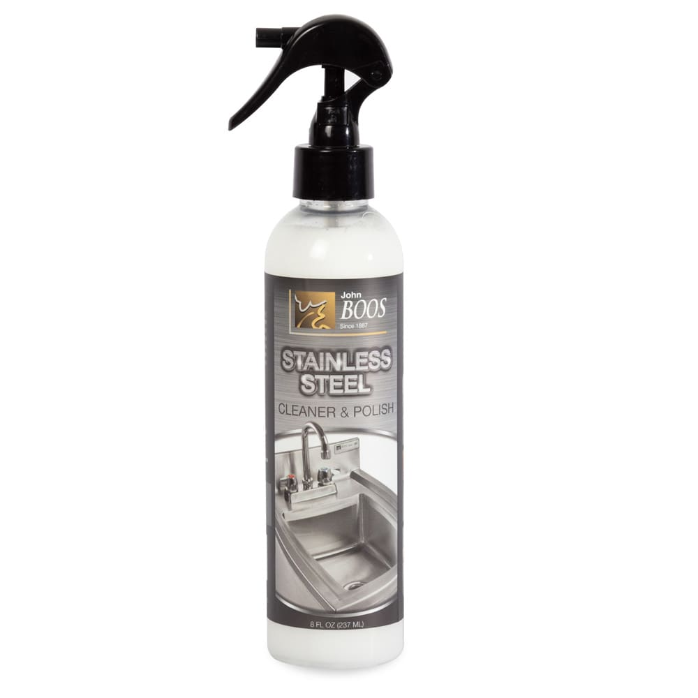 John Boos BSC-12 Stainless Steel Cleaner - Citrus Scent, Streak-Free, 8oz Bottle