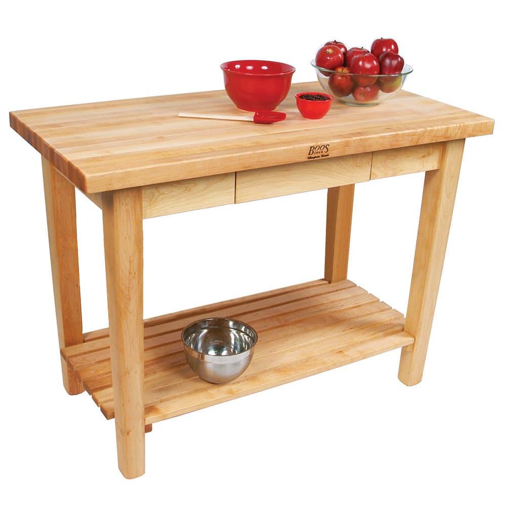 "John Boos C10S Work Table w/ 1-3/4"" Hard Rock Maple Top, 1-Shelf, 36 x 48"""