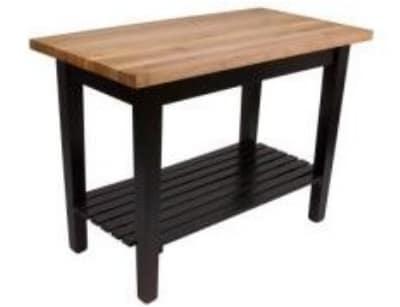 "John Boos C4824SBK Classic Country Hard Maple Table, 48 x 24 x 36"" H, Black"