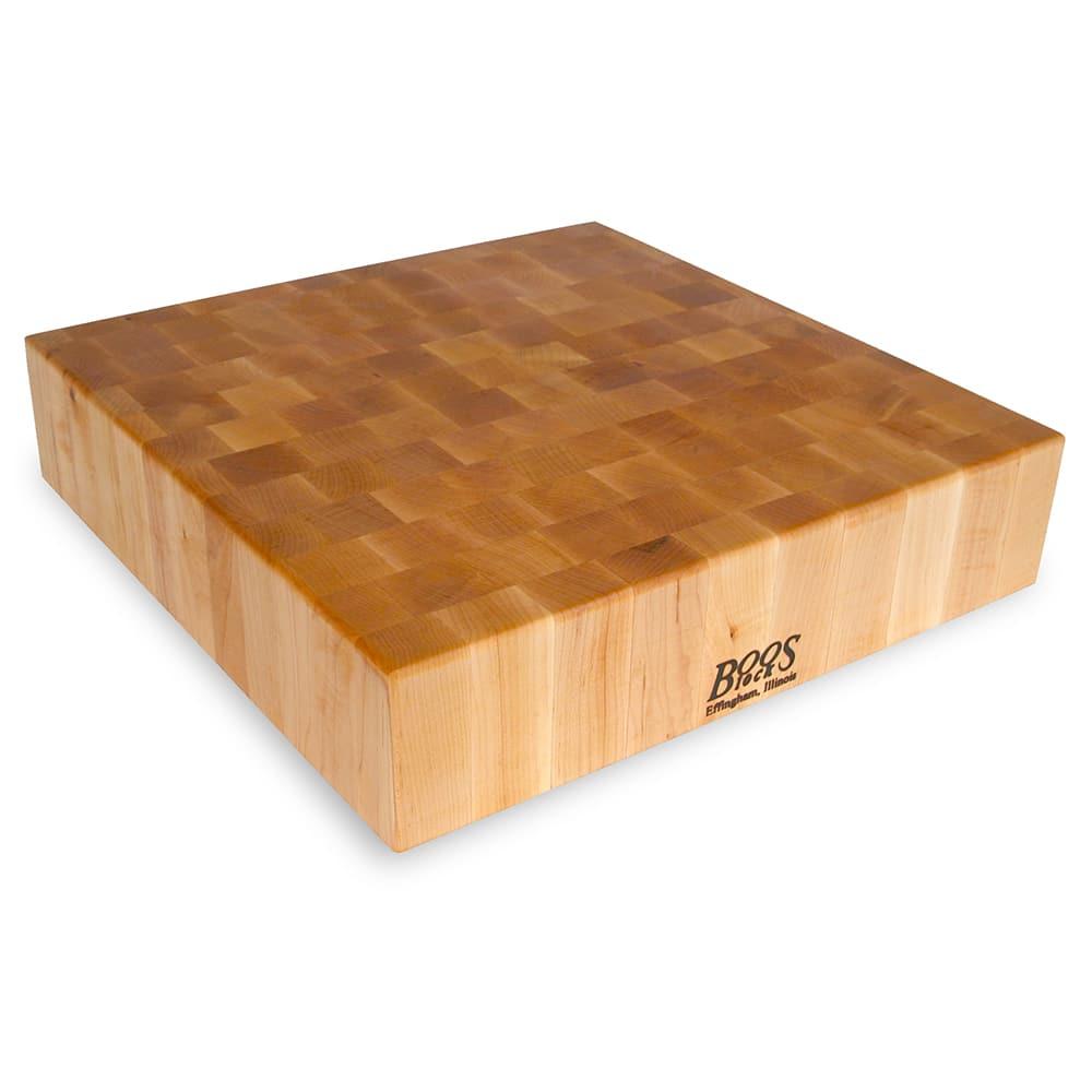 """John Boos CCB18-S Chopping Block, 18 x 18"""", 4"""" Hard Rock Maple End Grain"""