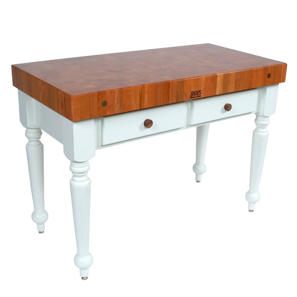 "John Boos CHY-CUCR04-AL Rustica Table, 4"" End Grain American Cherry, Alabaster Base, 30 x 24"""
