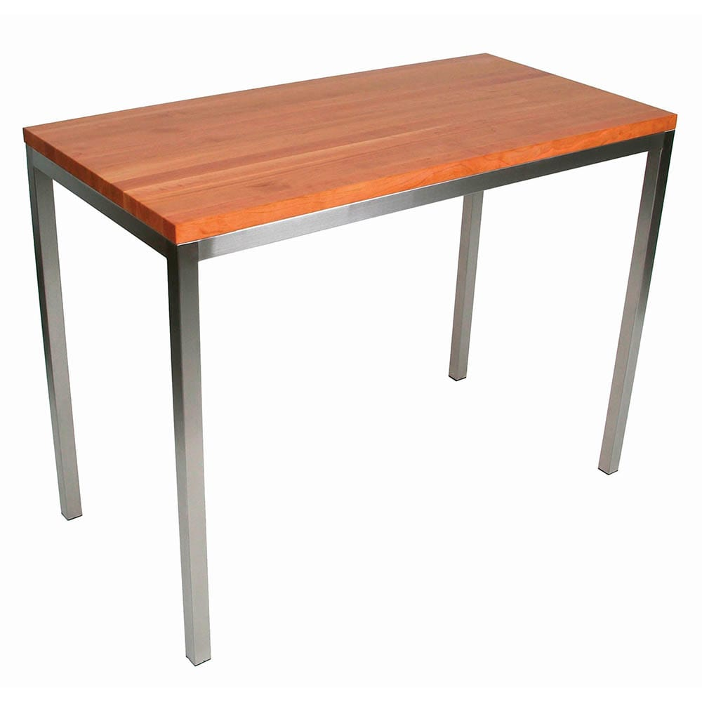 "John Boos CHY-MET-CNTR4824 Kitchen Island Table, Rectangular w/ Cherry End Grain Top, 48x24x1.25"""
