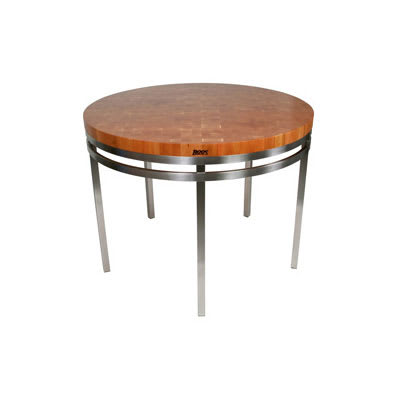 "John Boos CHY-MET-OA48 Kitchen Island Table, Round w/ American Cherry Edge Grain Top, 36x48x2"""