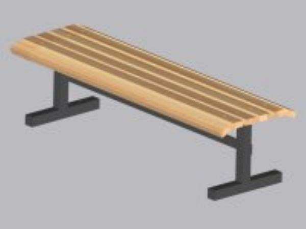 John Boos CPF96M Convenience Park Bench No Back, Slatted, Steel Tube Frame, 96 in Maple