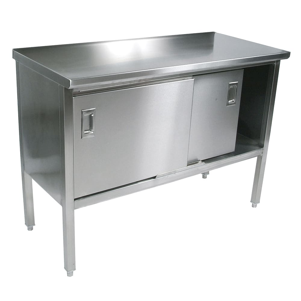 "John Boos CU160-19 96"" Enclosed Work Table w/ Sliding Doors, 30""D"