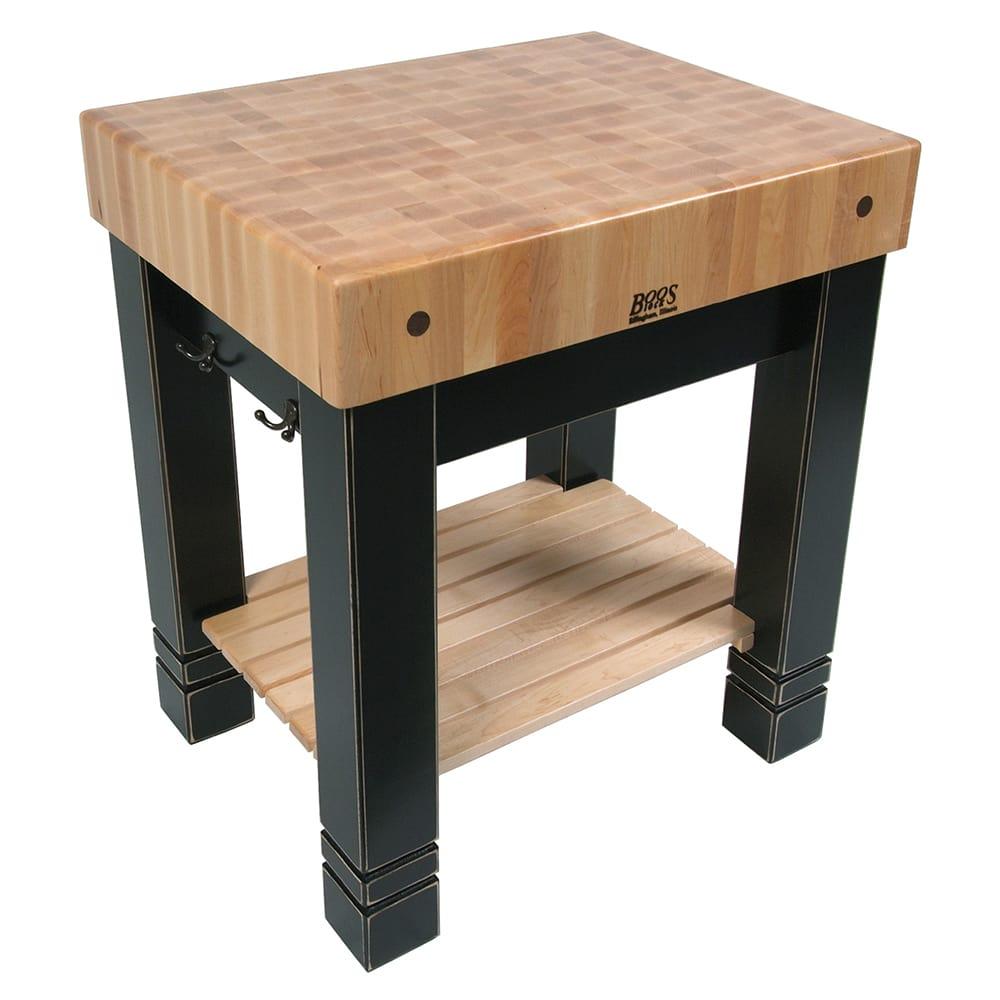"John Boos CUBB3024 5"" Maple Top Butcher Block Work Table w/ Undershelf, 30""L x 24""D"