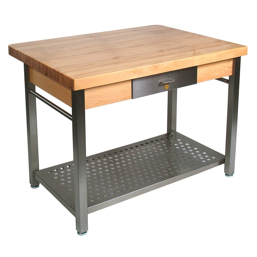 "John Boos CUCG11 Cucina Grande, Work Table, 2-1/4"" Maple Top, Varnique Finish, Stainless Base, 60 x 36"