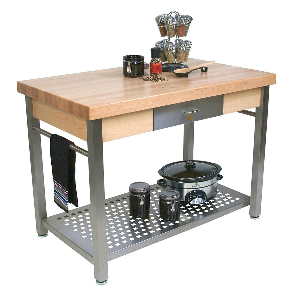 "John Boos CUCG20 Cucina Grande, Work Table, 2 1/4"" Maple Top, Varnique Finish, Stainless Base, 48 x 28"
