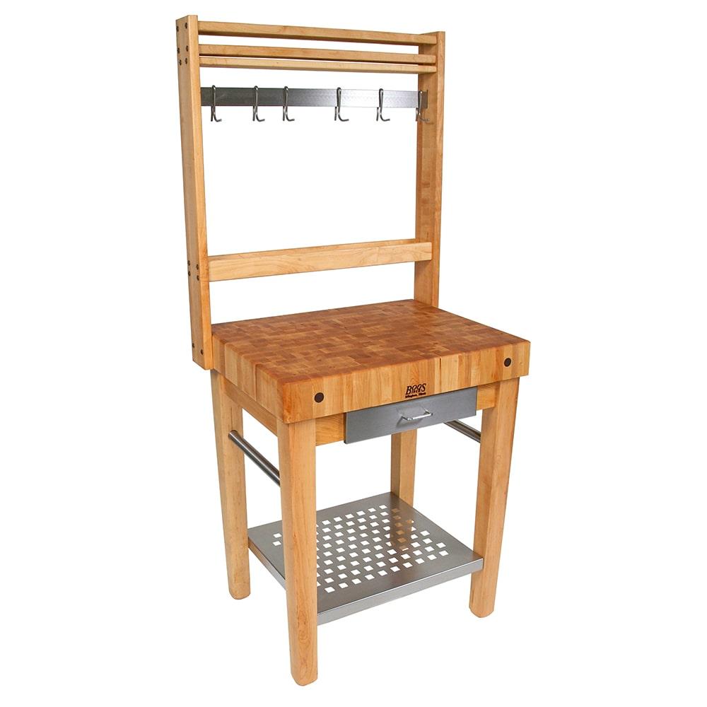 "John Boos CUCPM30 4"" Maple Top Butcher Block Work Table w/ Undershelf - 30""L x 24""D"