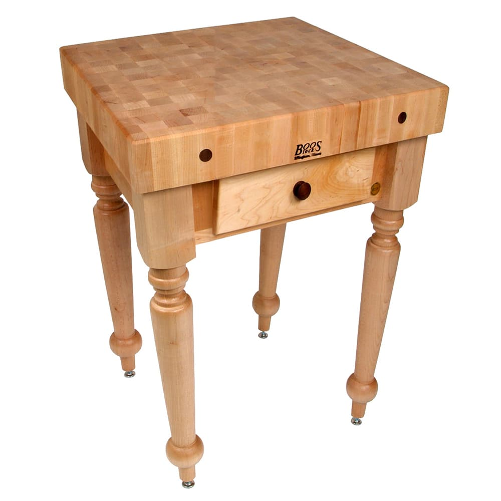 "John Boos CUCR04 Cucina Rustica Table, 4"" Thick, End Grain Maple, 30 x 24"" 416-CUCR04SHF"""