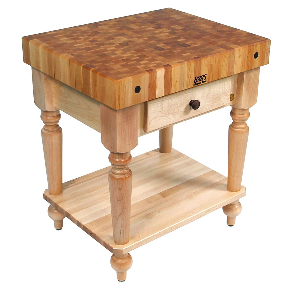 "John Boos CUCR04-SHF Cucina Rustica Table, 4 in End Grain Maple, 30 x 24"", Shelf"