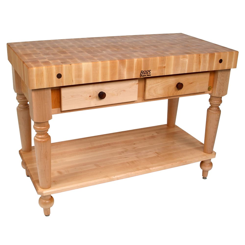 "Cucina 4 X 4 john boos cucr05-shf cucina rustica table, 4 in end grain maple, 48 x 24"",  shelf"