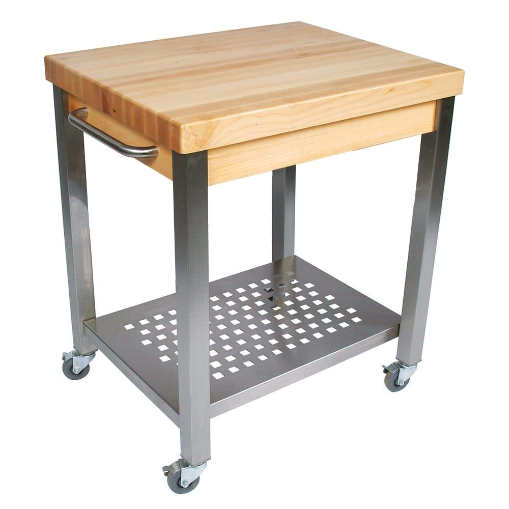 """John Boos CUCT04 Cucina Technica Cart, Stainless Undershelf, 2 1/4"""" Rock Maple Top, 24 x 24"""""""