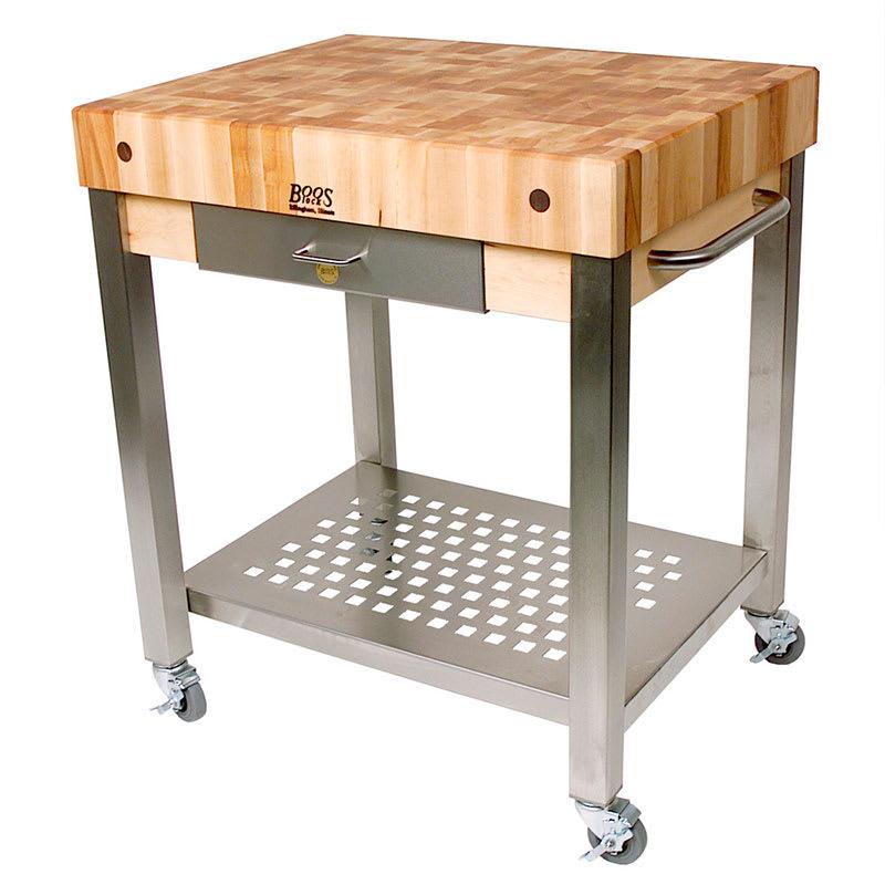 """John Boos CUCT14 Cucina Technica Cart, Stainless Undershelf, 4"""" Rock Maple Top, 24 x 24"""""""