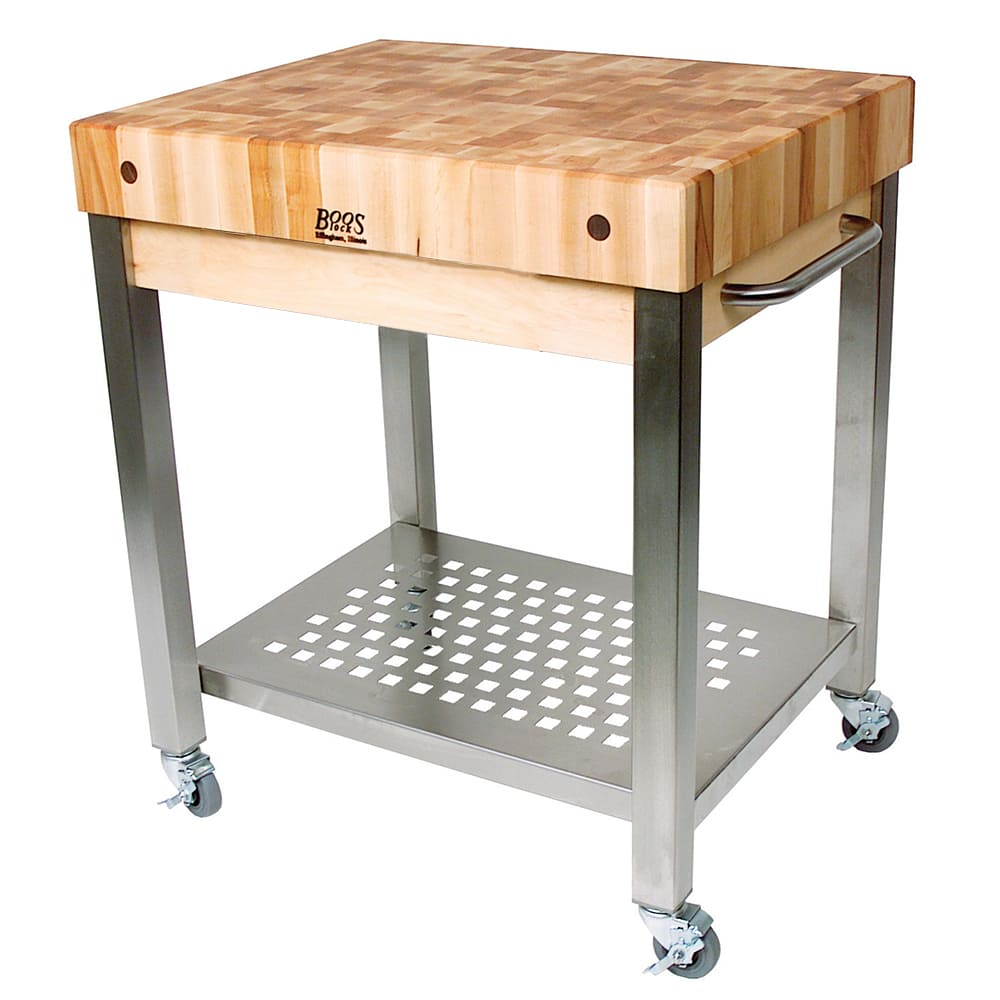 "Cucina 4 X 4 john boos cuct24 cucina technica cart, stainless undershelf, 4"" rock maple  top, 30 x 24"""