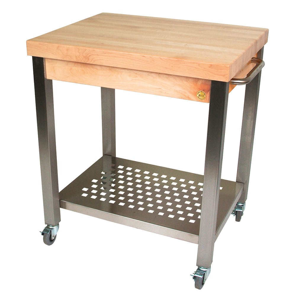 "John Boos CUCT34 Cucina Technica Cart, Stainless Undershelf, 2 1/4"" Rock Maple Top, 30 x 24"""