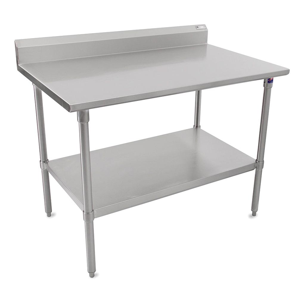 "John Boos CUCTA25 48"" 16 ga Work Table w/ Undershelf & 300 Series Stainless Flat Top"