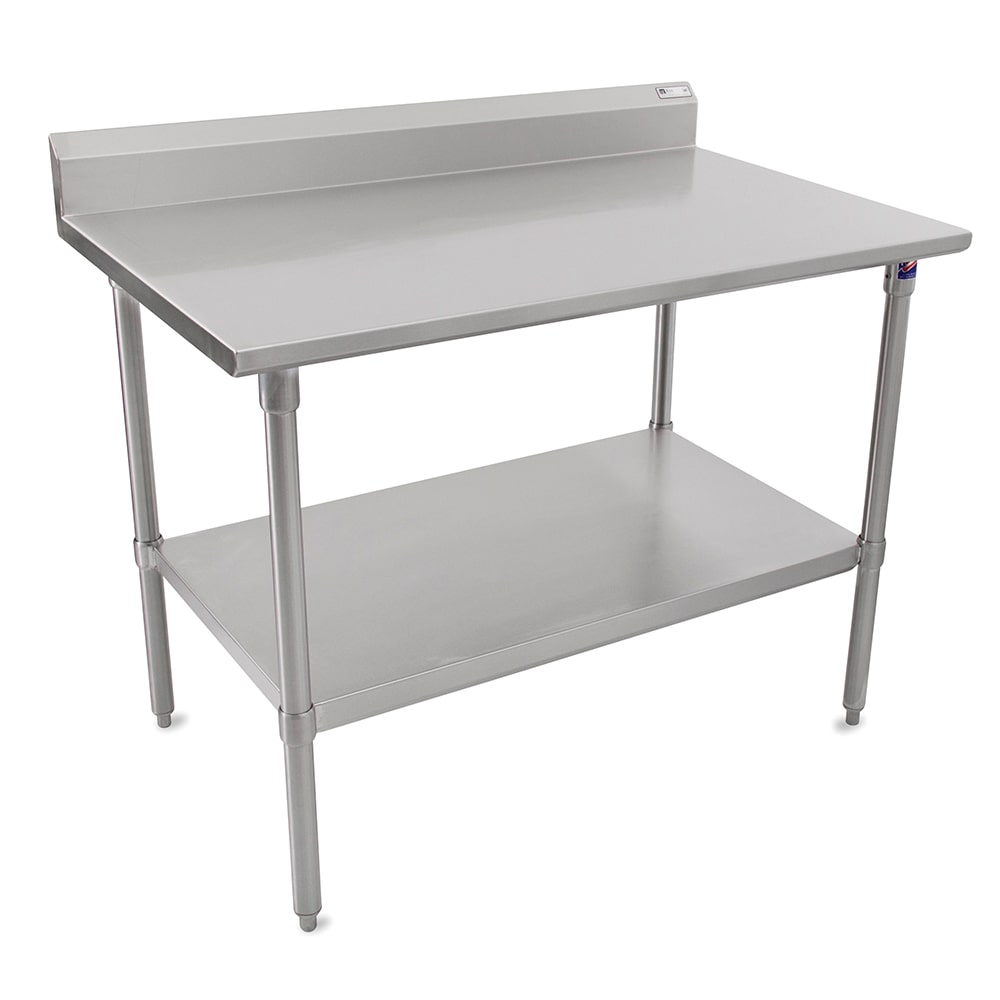 "John Boos CUCTA26 60"" 16 ga Work Table w/ Undershelf & 300 Series Stainless Flat Top"