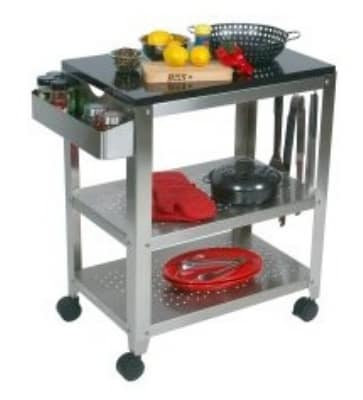 John Boos CUCULART30OD2 Cucina Culinarte' Cart, 20 in W x 30 in L x 35 in H, Black Granite Removable Top
