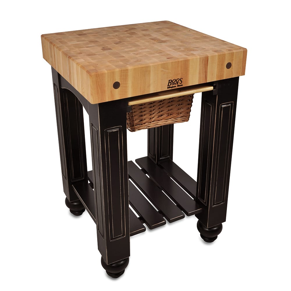 "John Boos CU-GB25-BK 25"" Gathering Block Table, Hard Maple Top w/ Caviar Black Base"