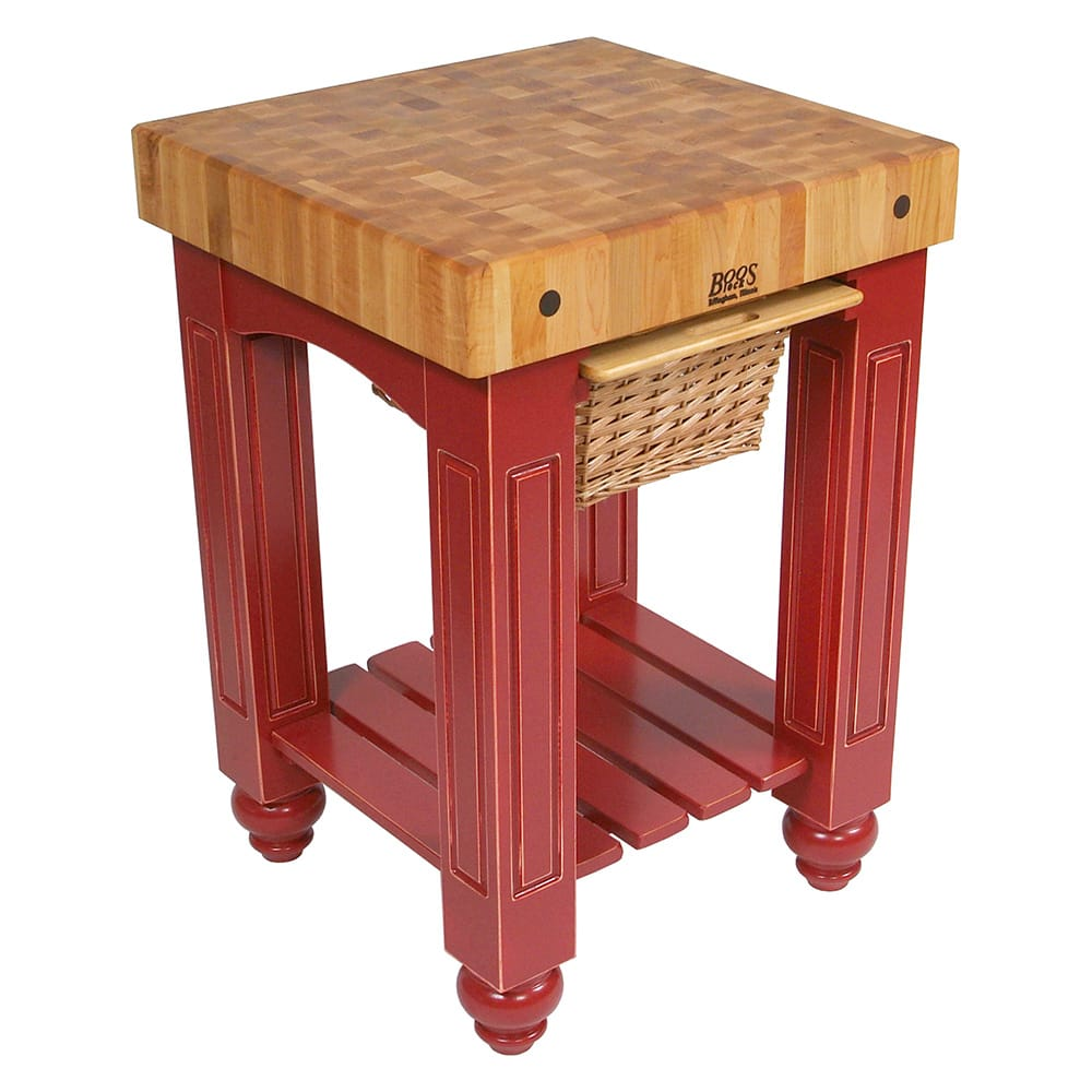 "John Boos CU-GB25-BN 25"" Gathering Block Table, Hard Maple Top w/ Barn Red Base"